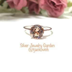 Orange Swarovski Crystal Sterling Silver Ring